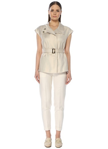 NetWork Kadın 1073232 Basic Fit Beli Kemerli Çizgili Pantolon Bej